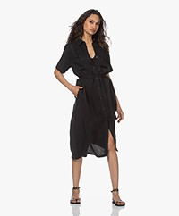 Denham Denise Cupro Blend Midi Shirt Dress - Black