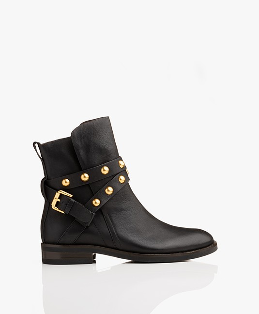 e950df6b80 See by Chloé Janis Leather Ankle Boots - Black/Gold - janis sb33005a ...