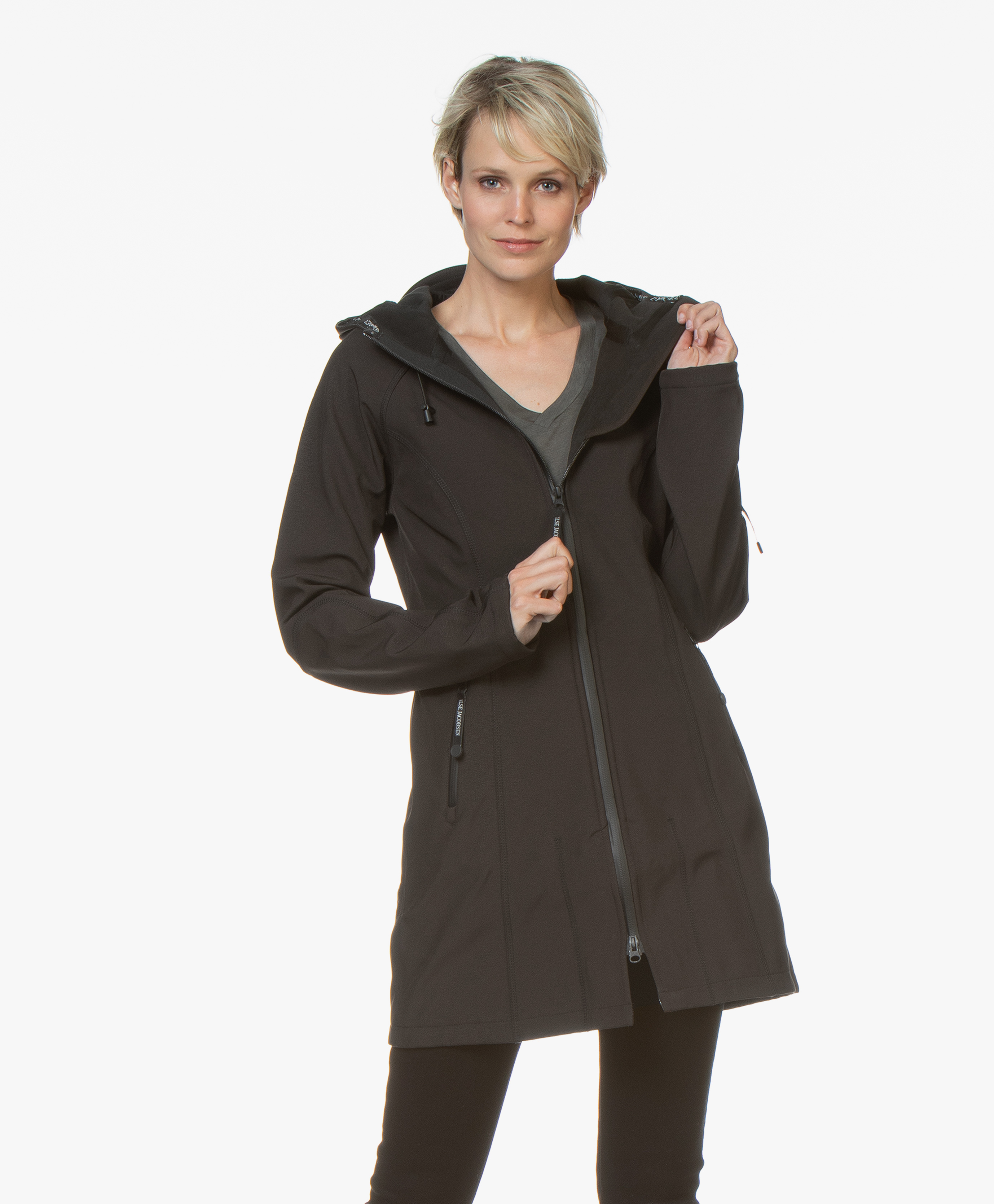 4861ca6b4c90 Ilse Jacobsen Softshell Raincoat Rain37 - Black - rain37 001