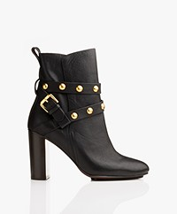 See by Chloé Janis Heeled Ankle Boots with Studs - Black