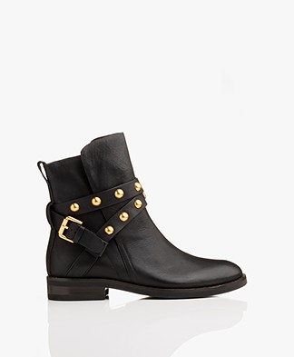 See by Chloé Janis Leather Ankle Boots - Black/Gold