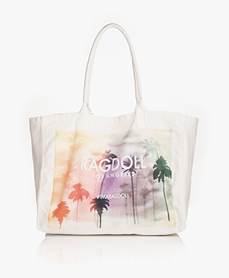 Ragdoll LA Holiday Palm Print Canvas Bag - Off-white