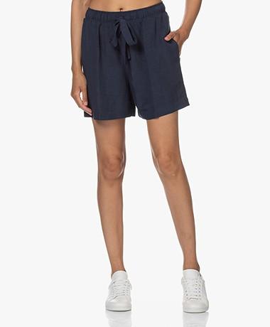 no man's land Viscose and Linen Blend Shorts - Dark Sapphire