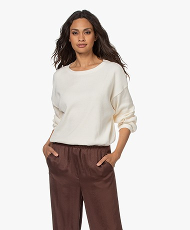 American Vintage Riricake Rib Jersey Sweater - Ecru Chine