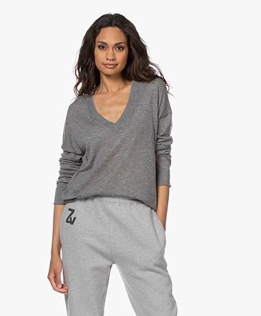 Zadig & Voltaire Brumy Cashmere V-neck Long Sleeve - Grey Melange