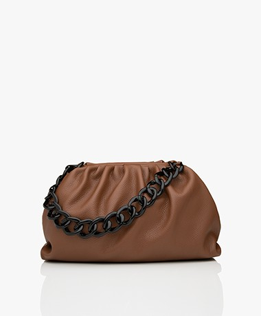 LaSalle Leather Chain Link Tote - Brown