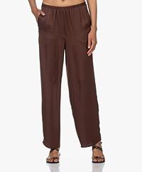 American Vintage Widland Satin Loose-fit Pants - Chocolat