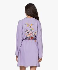 HAMMAM34 The Flower Embroidered Cotton Kimono - Lilac