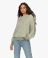 Closed Garter Stitch Alpaca and Wool Blend Sweater - Sage Green