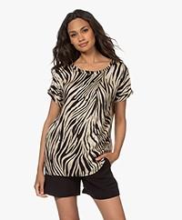 Plein Publique La Pau Printed Satin Short Sleeve Blouse - Zebra