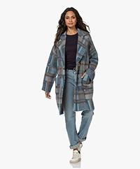 LaSalle Checkered Mohair Blend Coat - Blue/Brown