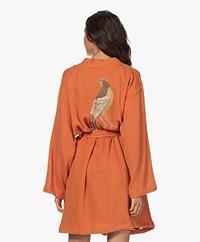 HAMMAM34 The Pheasant Embroidered Cotton Kimono - Rust Orange