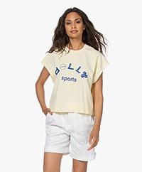Dolly Sports Martina Katoenen Print T-shirt - Lichtgeel