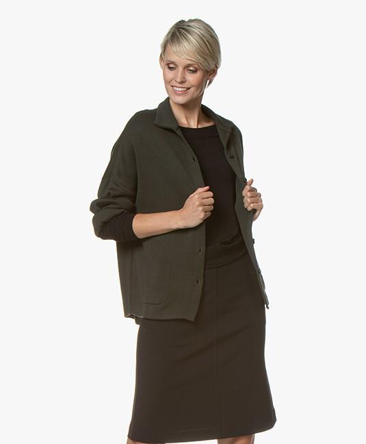 Sibin/Linnebjerg Spring Fine Knitted Cardigan - Army Green
