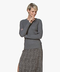 Repeat Rib Knitted Crew Neck Sweater - Medium Grey