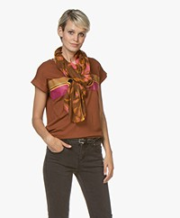 Kyra & Ko Lenne Viscose Scarf with Leaf Print - Toffee