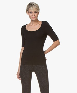 no man's land Viscose Half Sleeve T-Shirt - Black