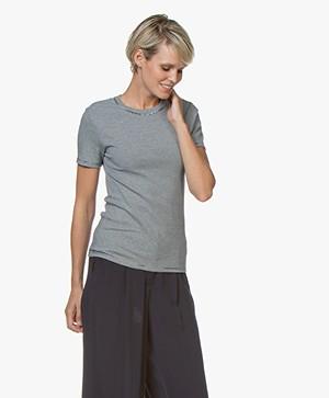 Petit Bateau Striped Round Neck T-Shirt - Smoking/Marshmallow