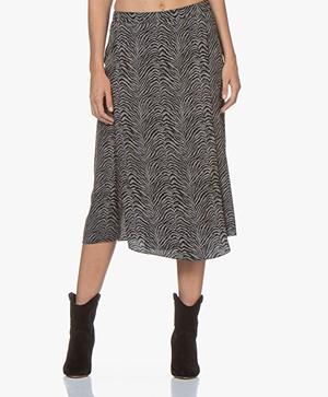 Repeat Silk Printed Midi Skirt - Zebra Print Mud