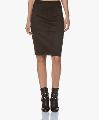 Kyra & Ko Charlize Suèdine Pencil Skirt - Black