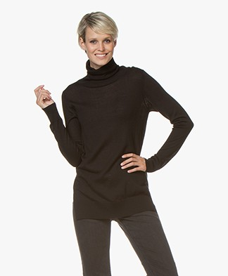 LaSalle Wool Blend Turtleneck Sweater - Black