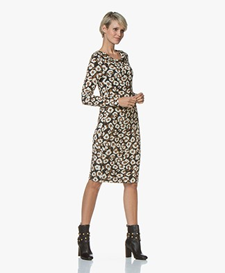 Kyra & Ko Appie Knitted Leopard Dress - Black