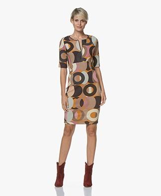 Kyra & Ko Flo Textured Print Dress - Caramel