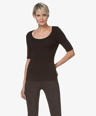 no man's land Viscose T-Shirt met Halflange Mouwen - Zwart