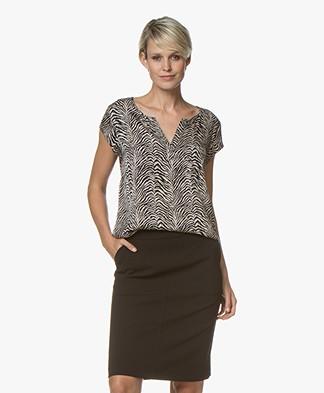 Repeat Silk Cap Sleeve Print Blouse - Zebra Print Sand