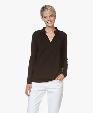 Kyra & Ko Elaine Viscose Jersey Long Sleeve T-shirt - Black