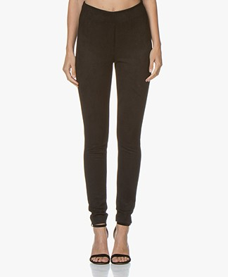 Kyra & Ko Juud Suèdine Slim-fit Pants - Black