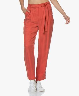 Marie Sixtine Kelly Cupro Paperbag Pants - Mars