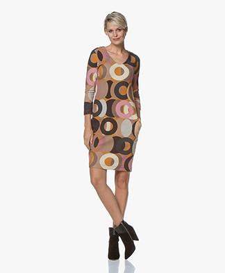 Kyra & Ko Lotta Textured Print Dress - Caramel
