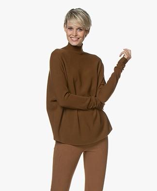 Drykorn Lyza Knitted Turtleneck Sweater in Virgin Wool - Brown
