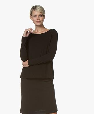 Kyra & Ko Inka Viscose Jersey Boatneck Long Sleeve - Black