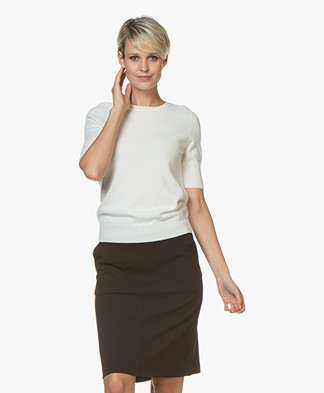 Repeat Short Sleeve Cashmere Pullover - Cream