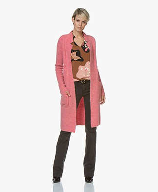 Kyra & Ko Rhode Long Open Rib Cardigan - Rose