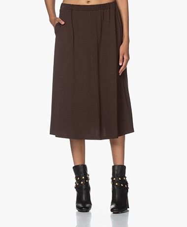 LaSalle Tencel Jersey A-line Skirt - Coffee