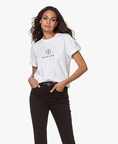 ANINE BING Hudson Monogram T-shirt - White