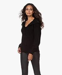 Repeat Merino Wool Hooded Sweater - Black