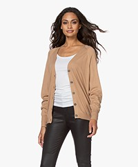 Repeat Bamboo Viscose V-neck Cardigan - Camel