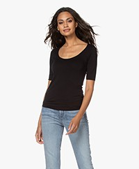 Majestic Filatures Soft Touch Jersey T-shirt with Half-length Sleeves - Black