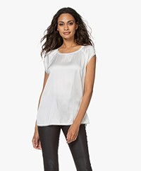 no man's land Stretch Silk Short Sleeve Blouse - Ivory