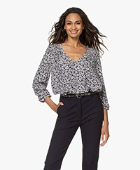 ba&sh Elsa Viscose Crepe Print Blouse - Black/Grey