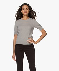 Repeat Short Sleeve Cashmere Pullover - Taupe
