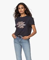 ba&sh Moki Slub Jersey Print T-shirt - Navy