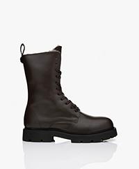 Filippa K Krisha Leather Shearling Lace-up Boots - Dark Oak