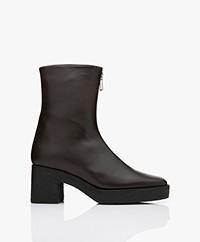 Filippa K Eileen Leather Platform Ankle Boots - Dark Oak