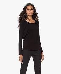 Repeat Stretch-Viscose Jersey Long Sleeve - Black