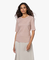 Filippa K Elena Tencel Elbow-length Sleeve T-shirt - Frosty Rose
